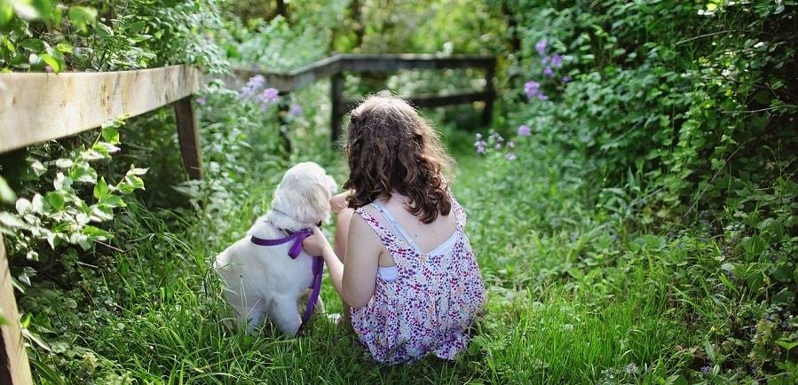 dziecko i pies w ogrodzie